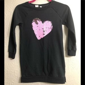 Gap Sz 8/M Sweatshirt Dress with Pink Sequin Heart
